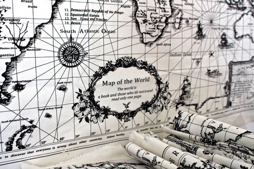 World map linen fabric vintage world map print curtain material world map linen fabric vintage world map print curtain material tapestry 75x145cm panel sold by the panel amazon kitchen home gumiabroncs Choice Image