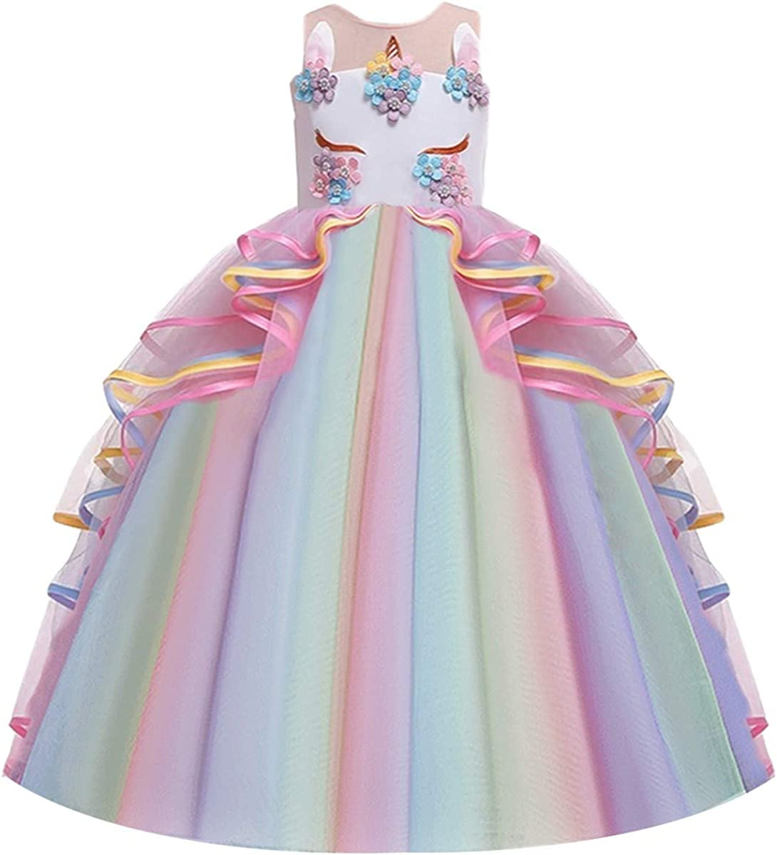 MYRISAM Girls Unicorn Princess Costume Wedding Birthday Pageant Halloween Carnival Christmas Party Long Tulle Fancy Dress Up Outfits Dance Performance Photography Ball Gowns 4-15Y