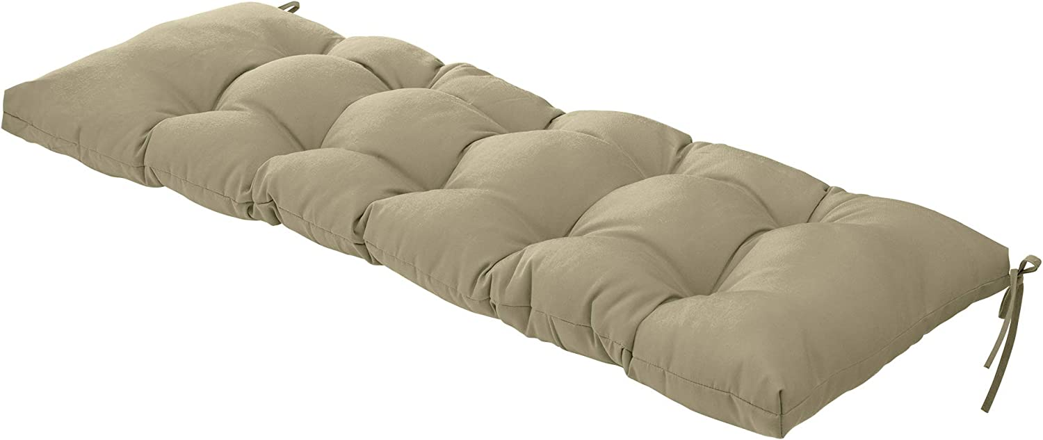 QILLOWAY Indoor/Outdoor All Weather Bench Cushion ,51-Inches (Beige)