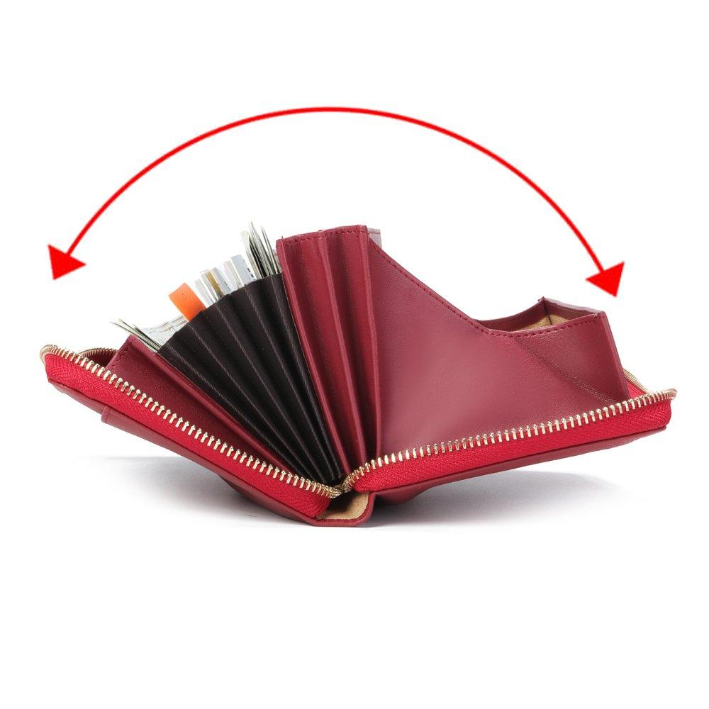 Portefeuille en Cuir pour Dames Brenice Porte-Monnaie RFID en Peau de Vache /à Glissi/ère Longs Portefeuilles Grande Capacit/é 11 Porte-Cartes pour Femmes