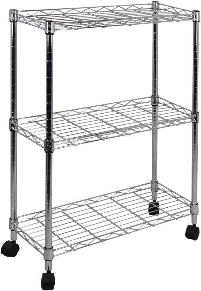 Luxor STC111 40.5 Automotive Utility Cart with 3 Shelves, Black