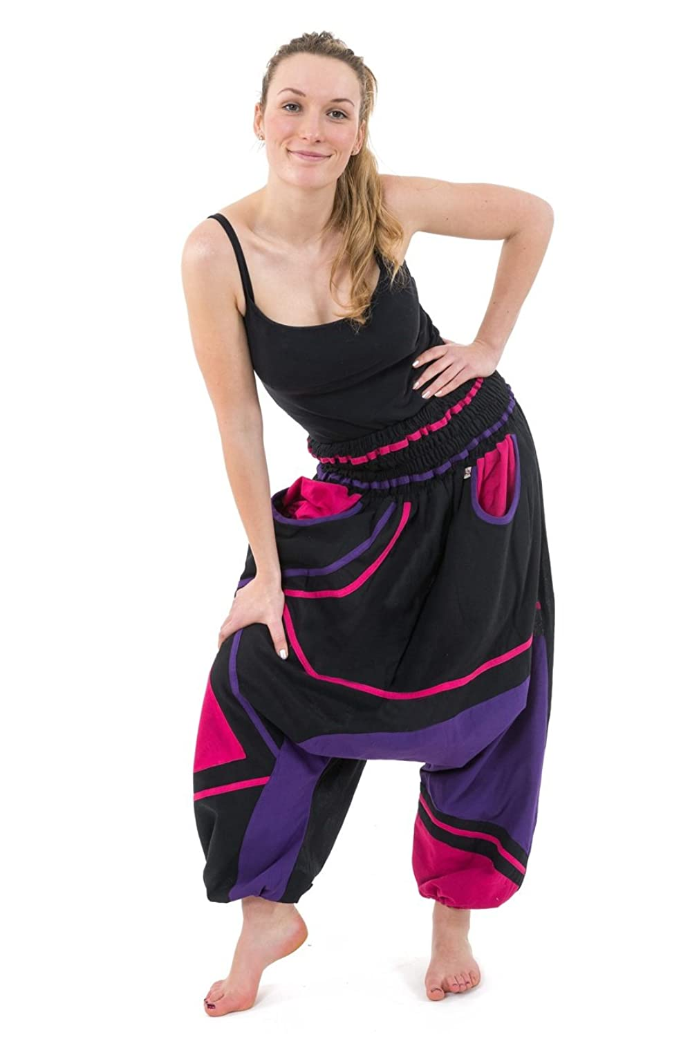 - saroual Women Elastic High Waist Neon Black Pink Purple -