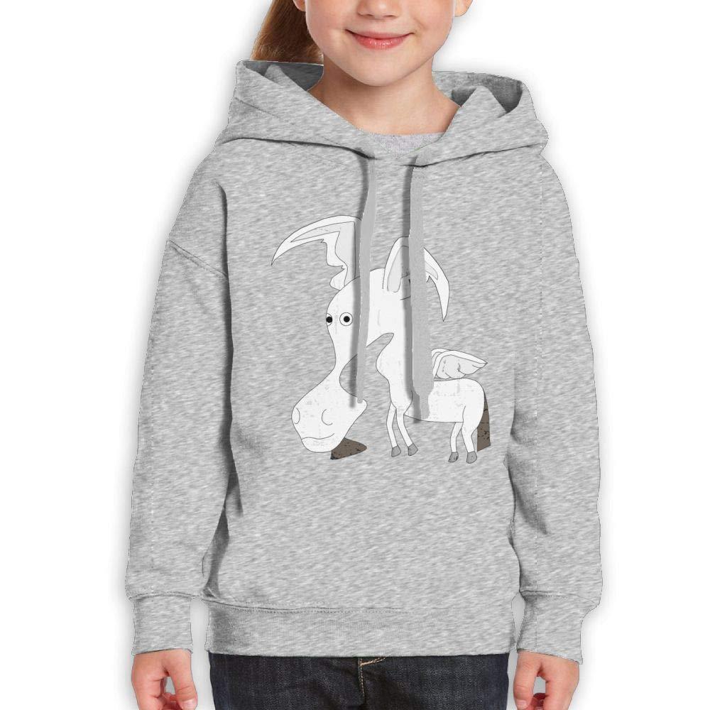 Qiop Nee White Donkey Wings Youth Hoody Print Long Sleeve Sweatshirts Girls'
