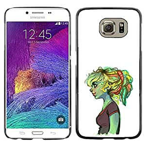 MobileHut / Samsung Galaxy S6 SM-G920 / Ogre Girl Sad Deep Ugly Duckling Green / Delgado Negro Plástico caso cubierta Shell Armor Funda Case Cover
