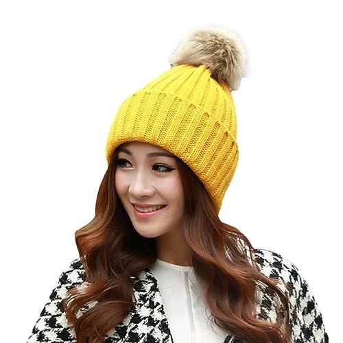 Rcool Mujeres Invierno sombreros calientes Gorro de lana de punto de ganchillo con pelota de piel