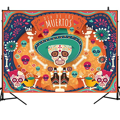 Mehofoto Day of The Dead Backdrop Día de Los Muertos Background Mexican Sugar Skull Calaca Photography Background 7x5ft Vinyl Party Banner Decoration