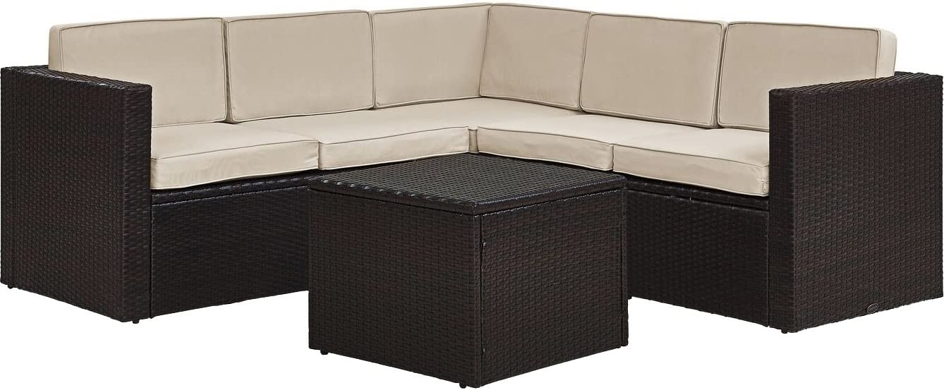 Crosley Furniture KO70007BR-SA Palm Harbor 6-Piece Outdoor Wicker Seating Set with Sand Cushions, Brown