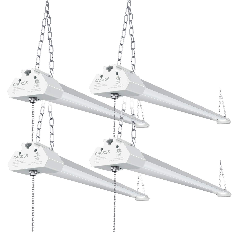Linkable LED Shop Light for Garage, 40W 4800LM worklight Fixture with Pull Chain, 5000K Super Bright LED Utility Light, Ceiling 4FT Light, for Workshops Basement Storage Workbench, ETL Listed, Pack 4