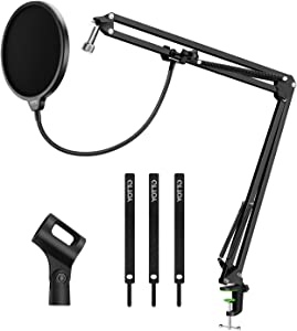 YOTTO Microphone Stand Adjustable Studio Mic Stand Suspension Boom Scissor Arm with Pop Filter Windscreen, 3 Cable Ties, for Blue Yeti, Snowball & Other Microphones Radio Broadcasting, Recording