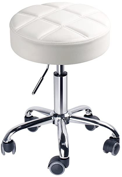 Leopard Round Rolling Swivel Stools, Adjustable Work Stool With Wheels    White