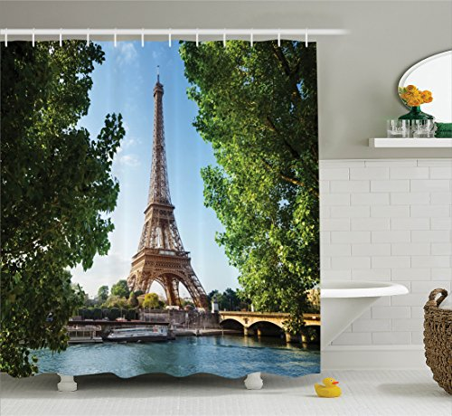 Ambesonne Eiffel Tower Decor Collection, Eiffel Tower Paris France Trees Famous Cityscape Skyline Sunny Summer Day Image, Polyester Fabric Bathroom Shower Curtain Set with Hooks, Blue Green