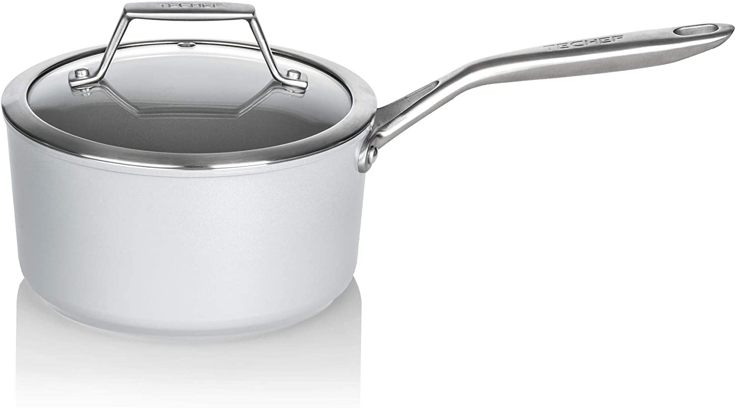 TECHEF CT CeraTerra 2-quart Ceramic Nonstick Saucepan with Glass Lid (PTFE and PFOA Free), Oven & Dishwasher Safe, Made in Korea, Grey/Silver