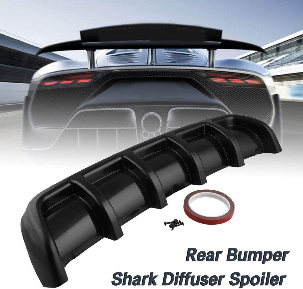 Ruien Universal Rear Shark 6 Fin Curved Bumper Lip Diffuser Kit Car Spoiler Decoration Matte Black