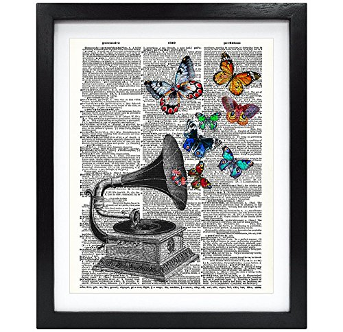 8X10 Unframed Vintage Phonograph With Butterflies Upcycled Vintage Dictionary Art Print Book Art Print Home Decor Wall Art V069