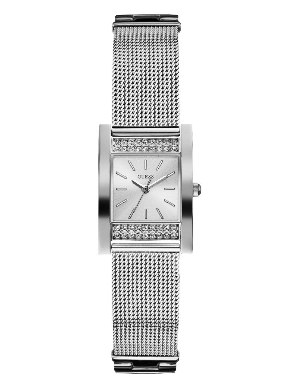 GUESS Factory Women's Silver-Tone Mesh Analog Watch