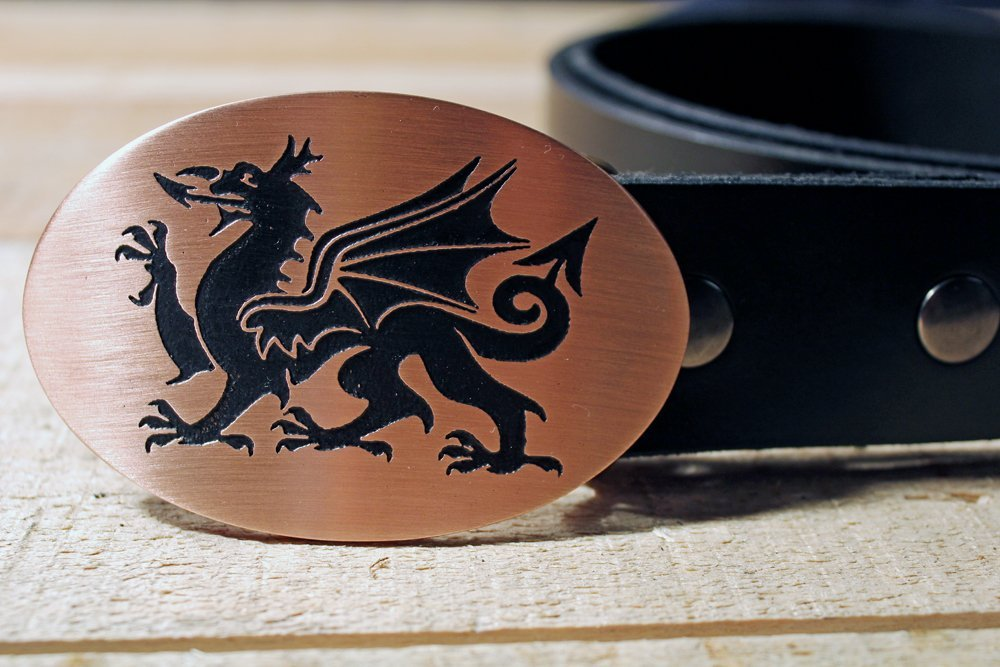 Wales Flag WELCH DRAGON PENDRAGON Etched Metal Belt Buckle