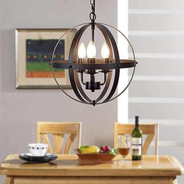 Globe Pendant Lights 3 Lamp Chandelier Black Rural Style Retro Rustic Industrial Vintage Ceiling Light Fixture