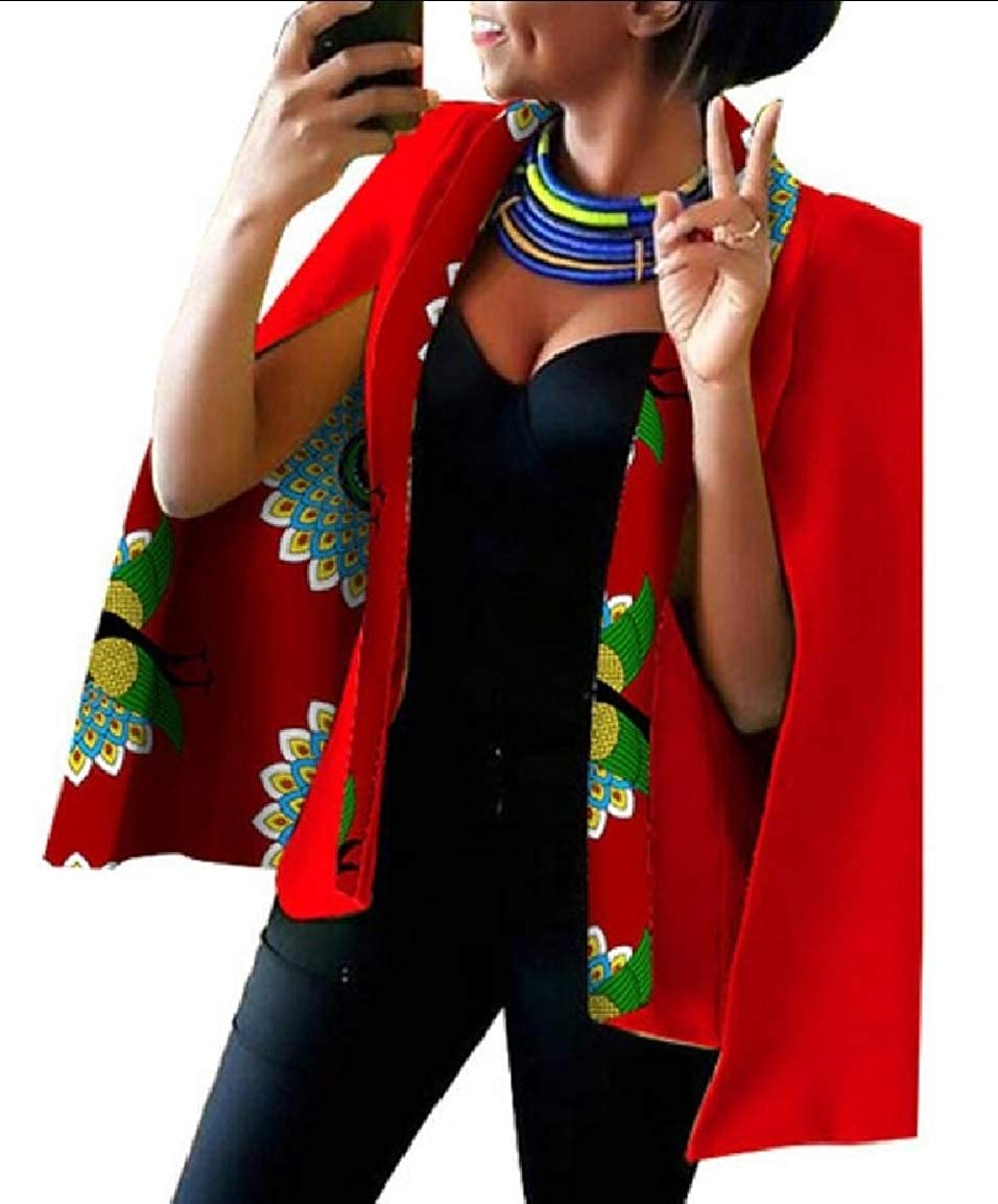 13 Keaac Womens African Dashiki Floral Print Cape Jacket Coat Blazer