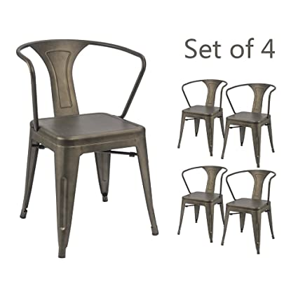 Devoko Gun Metal Chair Indoor Outdoor Tolix Style Kitchen Dining Chairs  Stackable Arm Chairs Set