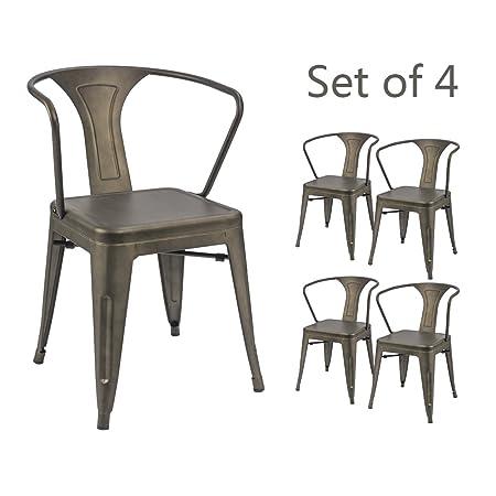 Devoko Gun Metal Chair Indoor-Outdoor Tolix Style Kitchen Dining Chairs Stackable Arm Chairs Set of 4 Gun