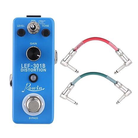 Rowin LEF-301B Distortion Pedal de Efectos + Joyo CM-11 2pcs Cables Colorido