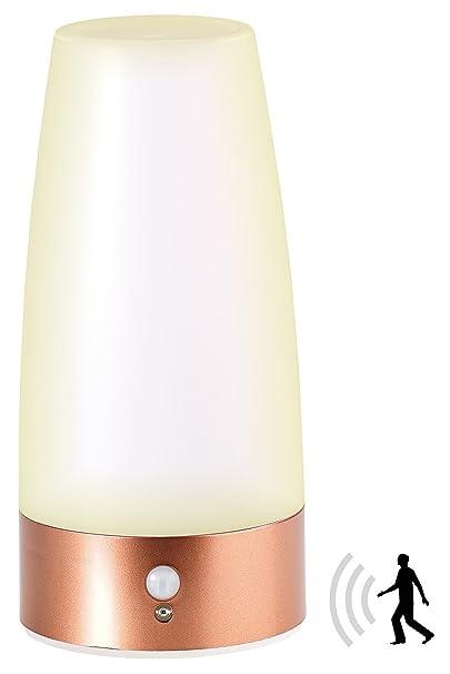 Lunartec Nachttischlampe Batterie: LED-Tischlampe mit PIR-Bewegungs-Sensor, Batterie betrieben, warmweiß (LED Tischleuchte Ba