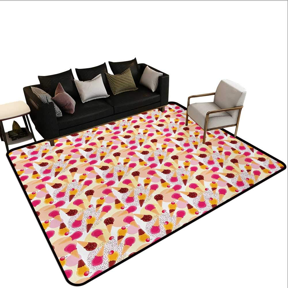 Household Decorative Floor mat,Sweet Taste of Summer Theme Chocolate and Fruity Flavor Cherries Circle Sprinkles 6'6''x8',Can be Used for Floor Decoration