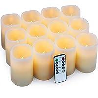 Hausware Velas eléctricas Velas Pilar Paquete de 12 Velas LED (D: 7.5cm X H: 10cm) Velas de Cera Real Velas con Pilas…