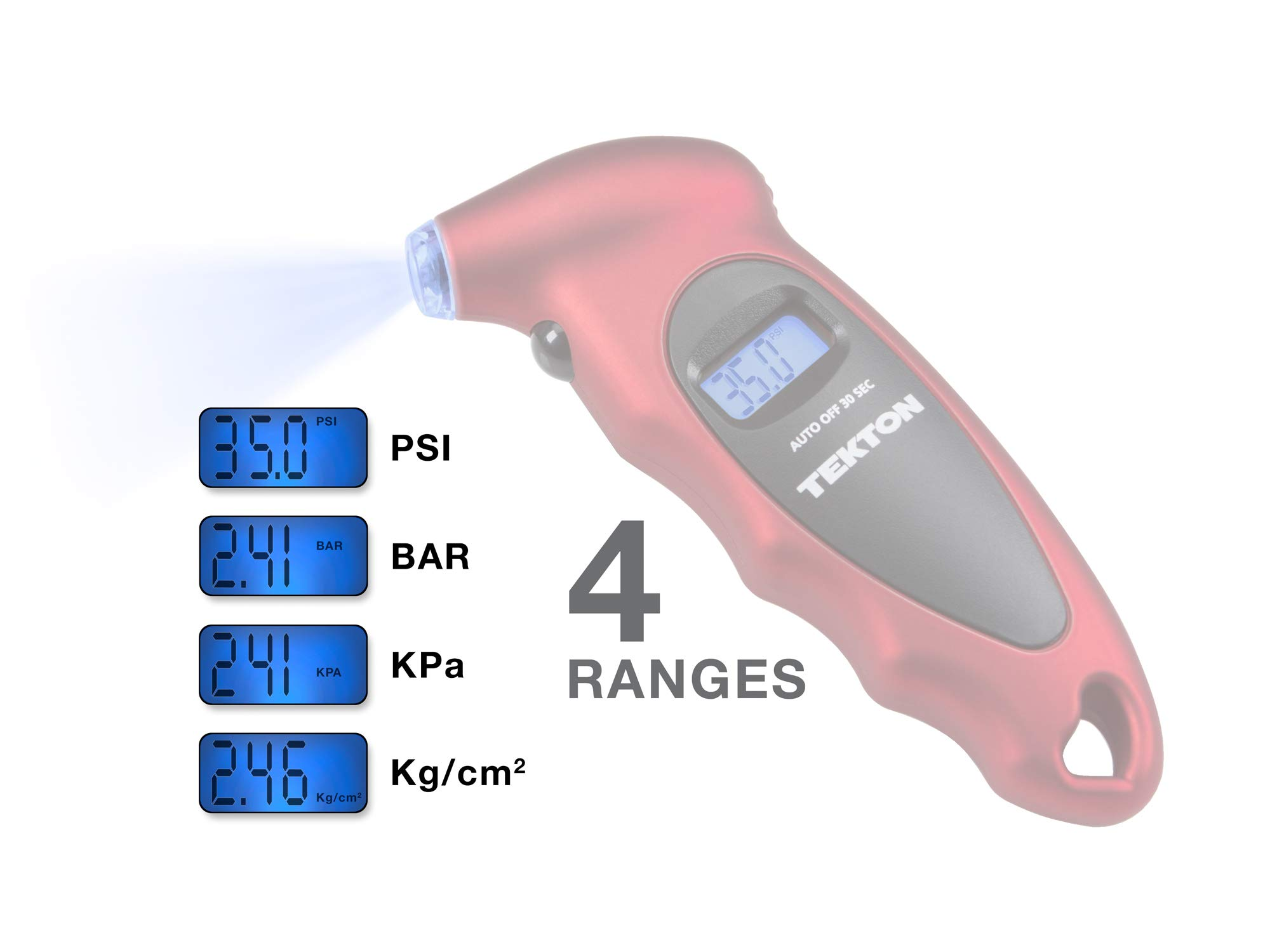 TEKTON Instant Read Digital Tire Gauge With Lighted Nozzle | 5941, Red/black