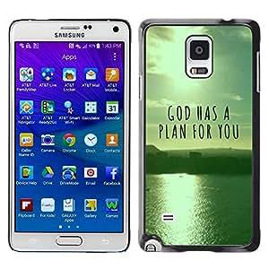 Smartphone Rígido Protección única Imagen Carcasa Funda Tapa Skin Case Para Samsung Galaxy Note 4 SM-N910F SM-N910K SM-N910C SM-N910W8 SM-N910U SM-N910 BIBLE God Has A Plan For You / STRONG