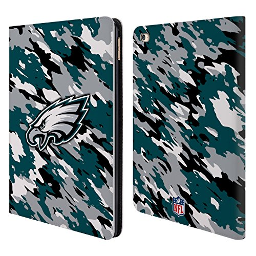 Official NFL Camou Philadelphia Eagles Logo Leather Book Wallet Case Cover For Apple iPad Air 2 (16 Sport System Tab)