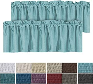 H.VERSAILTEX Energy Saving Textured Linen Curtain Valances for Living Room Rod Pocket Window Valances for Kitchen/Laundry/Bath, 2 Panels, Each 52 inch x 18 inch, Eggshell Blue