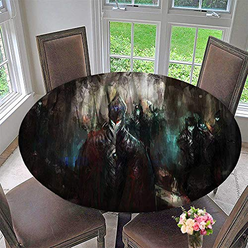 - Mikihome Chateau Easy-Care Cloth Tablecloth Cyrnetics Army Deep in The Forest Futuristic Artificial Evil Fighters 35.5