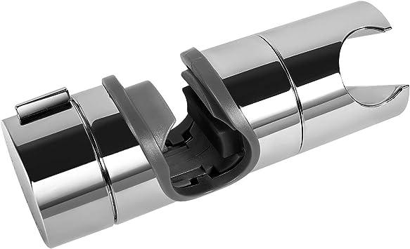 Practical Adjustable 18 to 25mm Chrome Shower Rail Head Slider Holder Bracket BA