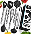 Cooking Utensils - 7 Piece Stainless Steel and Silicone Cooking Utensil Set - Nonstick Kitchen Utensils. Enjoy Today the Safeness for Your Pans and Pots & Comfort for Yourself by alexpros