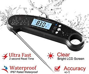 Digital Kitchen Thermometer for Bread, Candy, Yogurt, Liquids, Baking, BBQ Meat - Instant Read, Waterproof Magnetic Body and Wireless Large Probe with a Bottle Opener and Backlit Dial (Black)