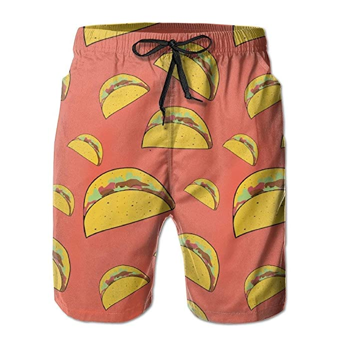 Personality Beach Pants Shorts Mexician Tacos Kawaii Mens Summer Beach Quick-Dry Surf Swim Trunks