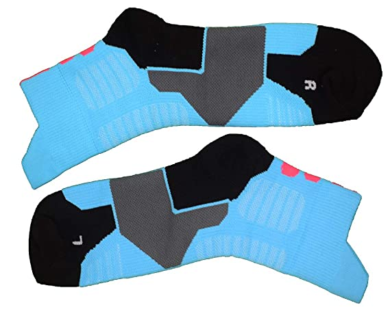 MKKLUY Professional Basketball Ankle Socks for Women and Men-Shoe Size 6 to 11 2 Pairs Sky Blue)