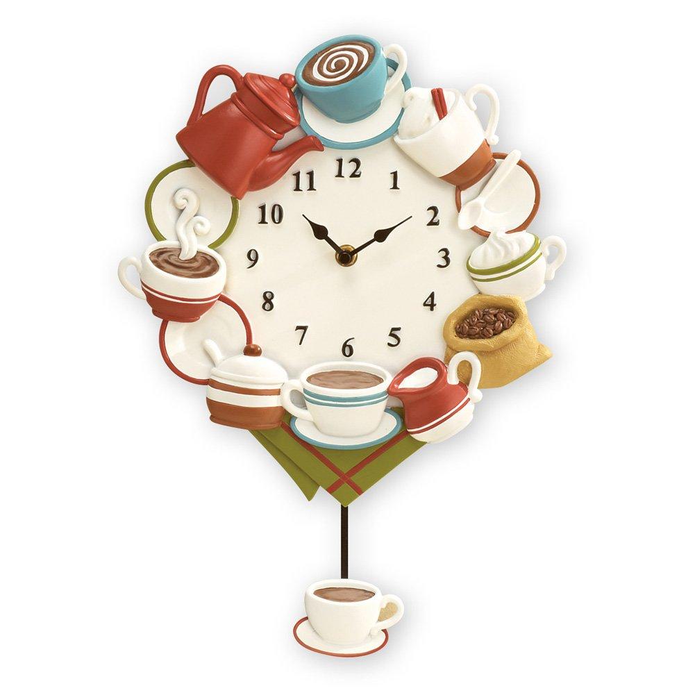 Coffee Cup Design Wall Clock With Pendulum Kitchen Indoor