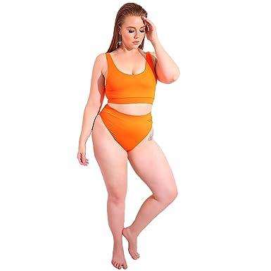 88f4daec7 Rebdolls Swim Set - Bright Orange - Elastic Waist - High Waisted -  Supportive - Double