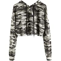Mujer Sudaderas, ASHOP Manga Larga Camuflaje Impreso Blusa Patchwork Talla Extra Sweatshirt Casual Encapuchado Sudadera…