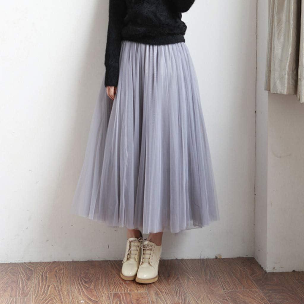 BOMING Womens Solid Pleated Dress Elegant Midi Elastic Waist Maxi Skirt