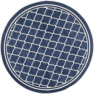 Safavieh Amherst Collection AMT422P Navy and Beige Indoor/ Outdoor Round Area Rug, 7 feet in Diameter (7' Diameter)