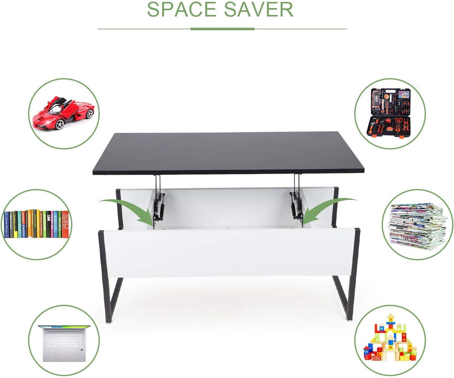 Beliwin Table Basse relevable Bureau avec Grand Rangement cach/é pour Bureau de Salon Noir + Blanc