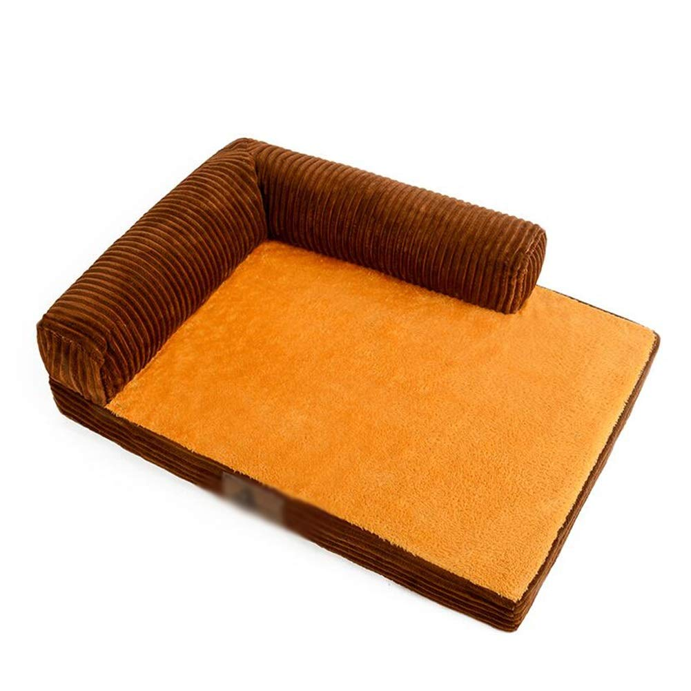 120×100×8cm ZXL Brown Pet Bed, for Small Medium Breeds, Orthopedic Pearl Cotton, Removable Washable Cover (Size   120×100×8cm)