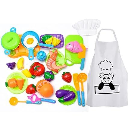Harxin Alimentos de Juguete 28 Piezas Cortar Frutas Verduras Temprano Desarrollo Educación Bebé Niños Traje de Chef Juegos para Cocinar (Juguetes ...
