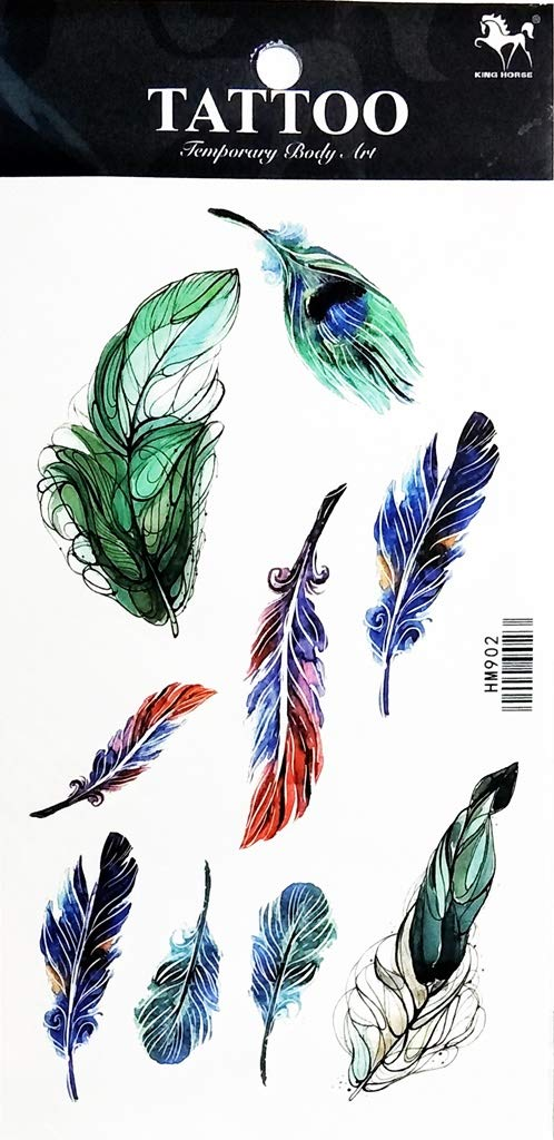 PP TATTOO 1 Sheet Parrot Feather Colorful Native American Indian Feather Arm Body Sticker Tattoo Art Make up for Men Temporary Tattoos Paper Waterproof