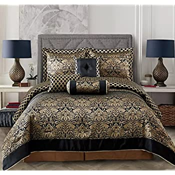 Amazon Com 7pcs Black Gold Jacquard Floral Comforter Set