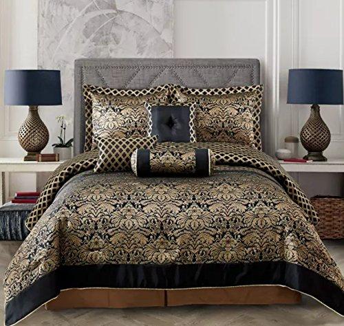 (Everrouge Lyon Luxury Jacquard 7 Pcs Comforter set (King))