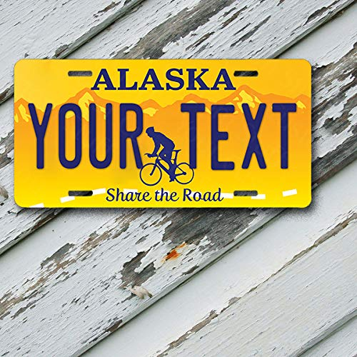 License Plate Alaska Wave 2 Share The Road Customizable 6 x 12 Aluminum Vanity License Plate